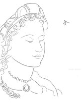 Woman in Renaissance Turban, line drawing by Sarah Myers