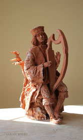 David with his Harp, sculpture by Sarah Myers