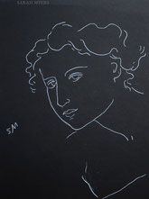 Woman Leaning Forward, line drawing on black by Sarah Myers