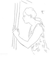 Woman Opening a Door, line drawing by Sarah Myers