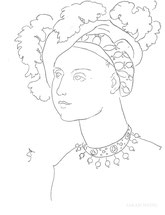 Woman in Renaissance Plumes, line drawing by Sarah Myers