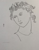 Woman with Flying Ringlets, line drawing by Sarah Myers