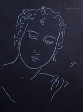 Woman with Curling Hair, line drawing by Sarah Myers