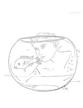 Fishbowl, line drawing by Sarah Myers