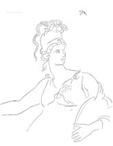 Athena, line drawing by Sarah Myers