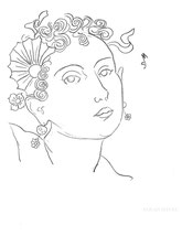 Woman with Flowers and Ribbons, line drawing by Sarah Myers