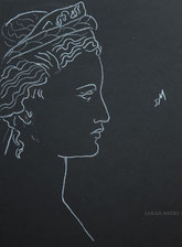 Profile with Tiara, line drawing on black by Sarah Myers
