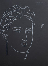 Classical Head, line drawing by Sarah Myers