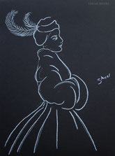 Woman in a Winter Coat, line drawing on black by Sarah Myers
