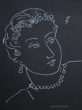 Woman in Pearls, line drawingon black by Sarah Myers