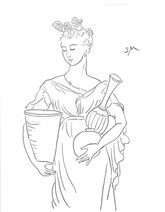 Armful of Pottery, line drawing by Sarah Myers