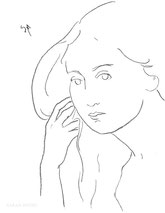 Woman with Long Hair, line drawing by Sarah Myers