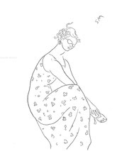 Pebble in the Sandal, line drawing by Sarah Myers