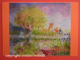 Traumlandschaft am See mit Boot und Giraffe