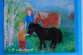 Pastellbild zwei Kinder mit Pferden
