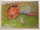 Fuchskind vor Baumhöhle mit Gänslein