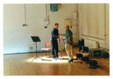 Klarinettist Zoltán Kovács mit dem Komponisten; Foto: Max Beckschäfer Robert Delanoff