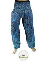 Fairtrade Haremshose, Yogahose, Pluderhose, blau mit Mandala Muster, Link