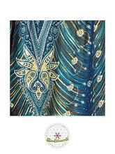 Haremshose, Yogahose, Pluderhose für Damen (Link zu einer Variante), mit Paisley- und Pfauenfeder Muster, türkis / petrol, Fairtrade