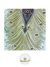Haremshose, Yogahose, Pluderhose für Damen (Link zu einer Variante), mit Paisley- und Pfauenfeder Muster, weiß, Fairtrade