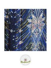 Haremshose, Yogahose, Pluderhose für Damen (Link zu einer Variante), mit Paisley- und Pfauenfeder Muster, blau, Fairtrade