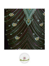Haremshose, Yogahose, Pluderhose für Damen (Link zu einer Variante), mit Paisley- und Pfauenfeder Muster,grün, Fairtrade