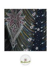 Haremshose, Yogahose, Pluderhose für Damen (Link zu einer Variante), mit Paisley- und Pfauenfeder Muster, schwarz, Fairtrade
