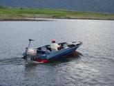 Lancha para pescar en el Lago Arenal