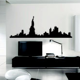 Wall decor image showing a New York City skyline.