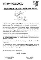 Donnerstag 7. Nov. um 18 Uhr Martins-Umzug