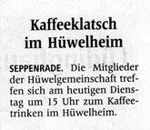 Kaffee-Klatsch im Hüwelheim am Dienstag 30.5. um 15 Uhr
