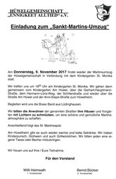 9. Nov. Do 18 Uhr Monikas St. Martin