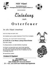 OSTER-FEUER am Samstag, 20. April ab 19 Uhr