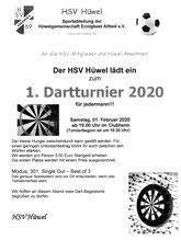 1. Dart-Turnier Samstag, den 1. Feb im Clubheim ab 19.30 Uhr