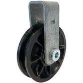 Seilrolle, Durchmesser Ø 75 mm, für Seile bis zu Ø 8 mm mit doppeltem Kugellager mit Haltebügel