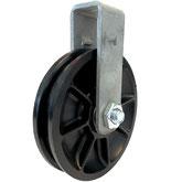 Seilrolle Ø 90 mm für Seile bis Ø 8 mm mit doppeltem Kugellager und Haltebügel