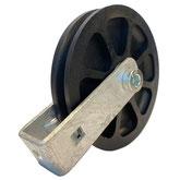 Seilrolle Ø 100 mm für Seile bis Ø 9 mm mit verschraubtem Haltebügel
