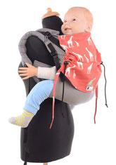 Huckepack Onbuhimo, Babytrage in Toddler Größe, stufenlos mitwachsendes Panel aus Tragetuch, gut gepolsterte Träger, kein Hüftgurt, große Designauswahl