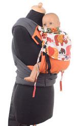 Huckepack Mei Tai, Tragehilfe mit verstellbaren Panel aus Tragetuchstoff, gepolsterte Träger und Hüftgurt zum Binden.