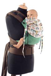 Huckepack Half Buckle, Tragehilfe ab Geburt, mitwachsendes Panel aus Tragetuchstoff, ergonomischer Hüftgurt, gepolsterte Träger