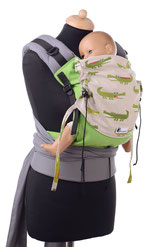 Half Buckle baby carrier, long, padded straps to be tied, hipbelt with buckle