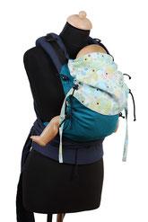 Huckepack Half Buckle, Babytrage ab Geburt, mitwachsendes Panel, gepolsterte Träger zum Binden, fester Hüftgurt mit Schnalle.