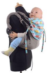 Huckepack Onbuhimo, Babytrage ab Sitzalter, einfach anzulegen, aus Tragetuchstoff gefertigt.