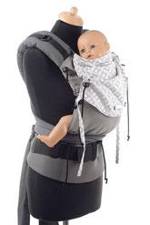 Huckepack Half Buckle, stufenlos mitwachsende Babytrage, ergonomisch geformter Hüftgurt mit Schnalle, gut gepolsterte Träger zum Binden