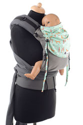 Half Buckle babycarrier, made from wrap fabric, adjustable panel, padded shoulder straps, hipbelt with buckle