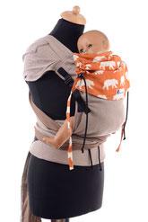 Wrap Tai, Babytrage von Huckepack, stufenlos mitwachsende Tragehilfe, auffächerbare Träger zum Binden, ergonomischer Hüftgurt mit Schnalle, komplett aus Tragetuchstoff
