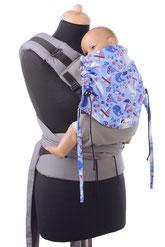 Huckepack Half Buckle Tragehilfe, mitwachsednes Panel, gut gepolsterte Träger zum Binden, stabiler Hüftgurt mit Schnalle