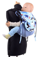 Huckepack Onbuhimo, baby carrier, adjustable panel, made from wrap fabric, well padded shoulder straps.