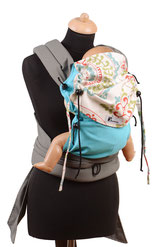 Mei Tai babycarrier, adjsutable wrap panel, from birth on, padded shoulder straps and hipbelt