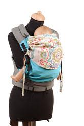 Mei Tai von Huckepack, lange mitwachsende Babytrage, Träger und Hüftgurt zum Binden, Stegverkleinerung, panelverkürzung, Nackenverkleinerung.